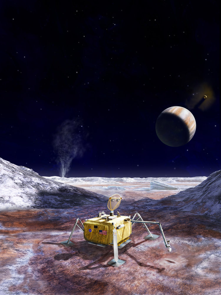 Artist's impression of the Europa lander Kevin Peter Hand is developing. Credit: NASA/JPL-Caltech.