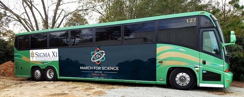 Sigma Xi's bus to this Saturday's March for Science. Credit: Jamie Vernon.