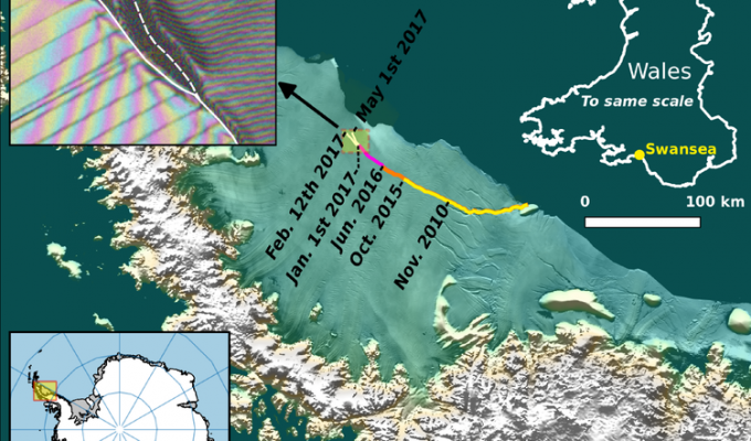 Satellite data, top left, shows that a new crack has formed in the Larsen C Ice Shelf.