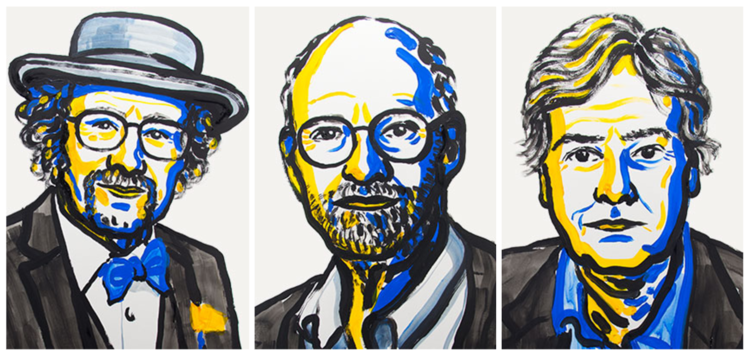 Left to right, Jeffrey C. Hall, Michael Rosbash, and Michael W. Young. Credit: Nobel Media.