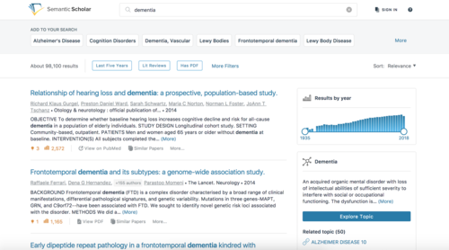 "Sample search page for ""dementia"" on Semantic Scholar. Credit: AI2."