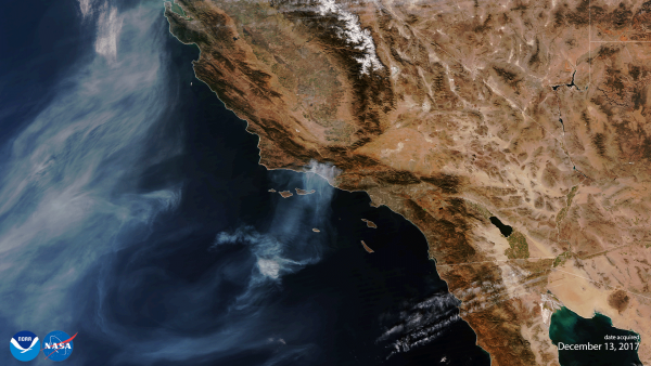 The first image of the new VIIRS device on the NOAA-20 satellite sees smoke from the Thomas fire in California | Miles O'Brien Productions