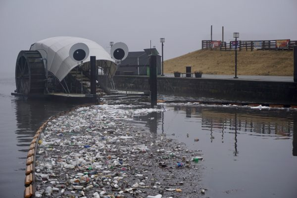 Mr. Trash Wheel working hard after a rainstorm, gobbling up washed-out trash. Photo: Healthy Harbor. | Miles O'Brien Productions