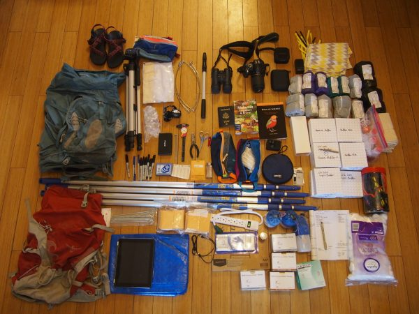 All of my gear for fieldwork, laid out. Photo: Liz Scordato. | Miles O'Brien Productions