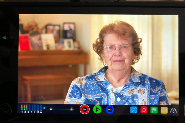 "Betty Manlove, Cameron's grandmother, sits down for an interview for the upcoming ""junk news"" PBS NewsHour series. Photo: Cameron Hickey. 