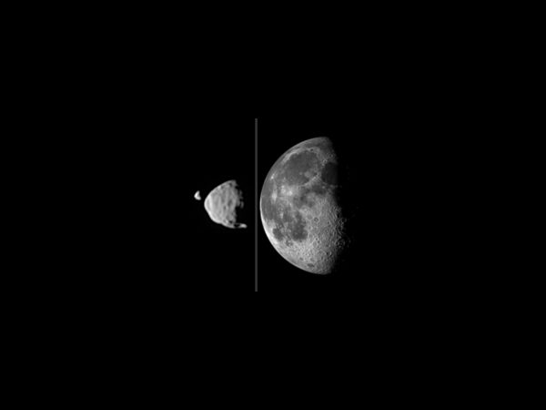 Phobos and Deimos, left, as seen from Mars. Like our Moon, right, the Martian moons were also likely created by a collision with another massive object. Credit: NASA. | Miles O'Brien Productions