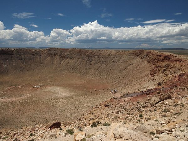 The mile-wide Meteor Crater in Arizona was created 49,000 years ago by a relatively small asteroid, only around 130 feet across. Credit: Ken Thomas | Wikipedia. | Miles O'Brien Productions