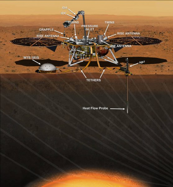 Artist's conception of the InSight lander (SEIS is the seismographic instrument). Credit: NASA/JPL-Caltech. | Miles O'Brien Productions