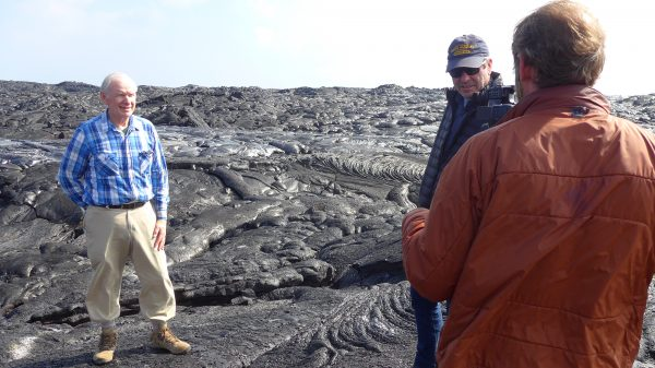 Standing on Kilauea. Left to right: Mike Garcia, Miles O'Brien, Cameron Hickey. Photo: Suzi Tobias. | Miles O'Brien Productions