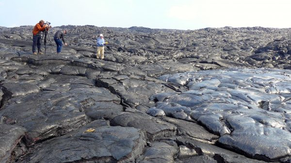 Filming on the alien landscape of Kilauea two years ago. Photo: Suzi Tobias. | Miles O'Brien Productions