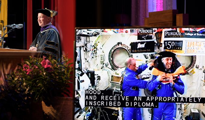 Astronaut receives honorary doctorate while in space