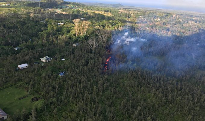 Hawaii's Kilauea volcano opens up rift in residential area.