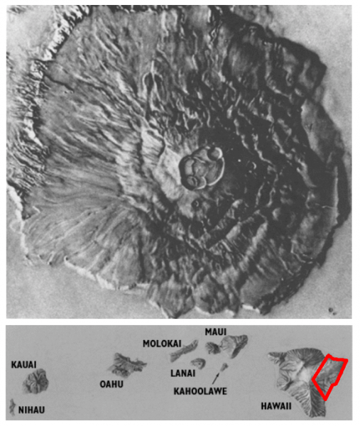 Top: Mars' Olympus Mons, the largest volcano in the solar system. Below, Hawaiian islands to scale, with the generous red outline of Kilauea. Credit: USGS/NASA/JPL, edited by author. | Miles O'Brien Productions