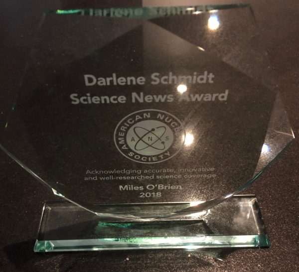 The award is shaped like a hexagon, the shape of a fuel rod in a nuclear reactor. Credit: Miles O'Brien. | Miles O'Brien Productions
